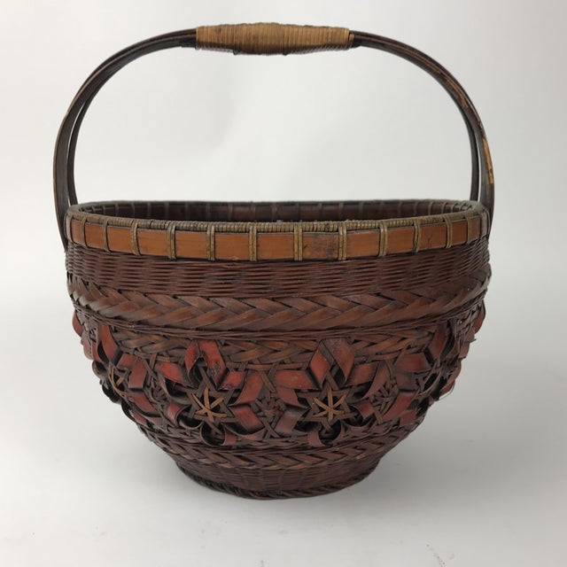 Antique Asian Bamboo Handmade Basket For Sale In Los Angeles - Image 6 of 6