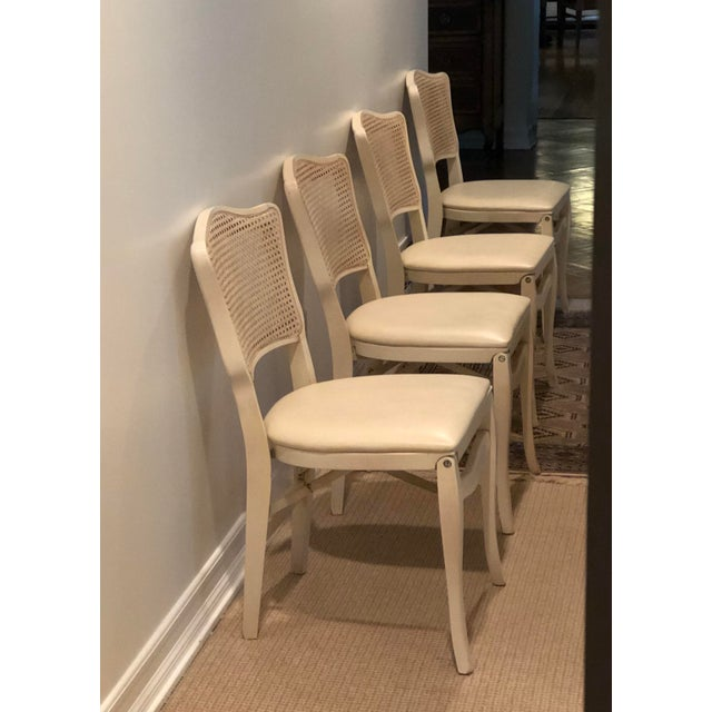 Caned Backed Neutral Colored Stackmore Folding Chairs - Set of 4 For Sale - Image 4 of 12