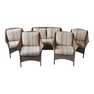 Modern All Weather Wicker Seating With Cushions - Set of 6 For Sale