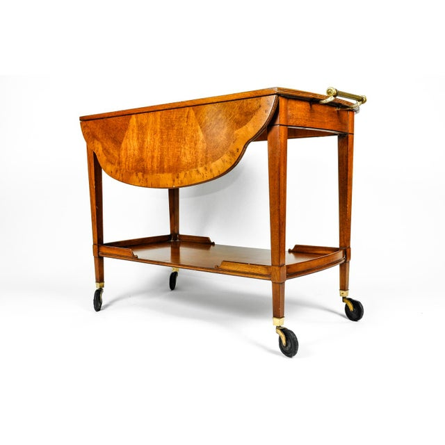 1960s Mid-20th Century Satinwood Mahogany Bar Cart or Tea Trolly For Sale - Image 5 of 13