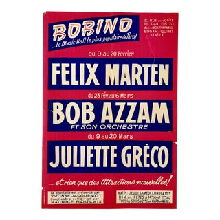 1960's French Bobino Le Music Hall Poster For Sale