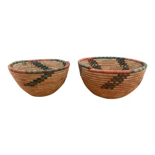 Vintage African Bowl Baskets - a Pair