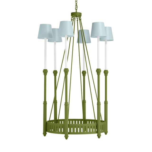 Casa Cosima Camilla Chandelier, Timson Green with Palladian Blue Shades For Sale - Image 4 of 4