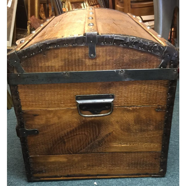 Antique Camelback Wooden Trunk - Image 4 of 6