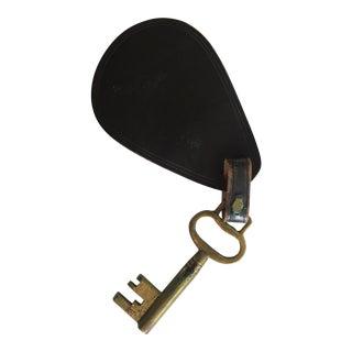 Vintage Leather & Brass Oversized Key
