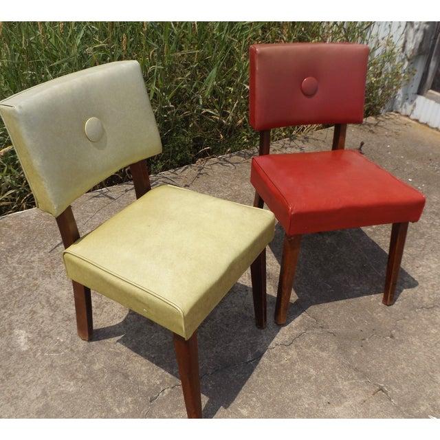 Retro Mid-Century Vinyl Accent Chairs - A Pair - Image 2 of 11
