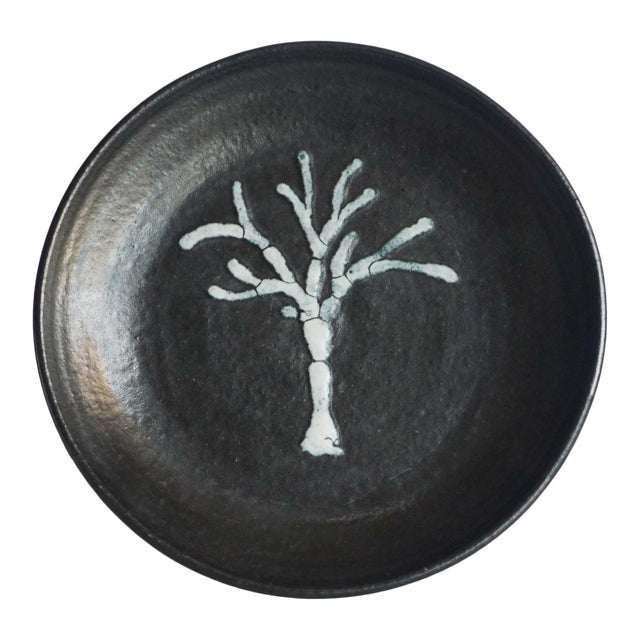 Studio Pottery Black Dish With Tree Motif For Sale