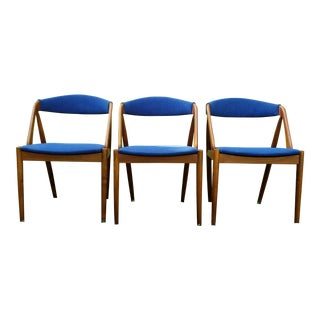 1960s Vintage Kai Kristiansen Wood Frame Model 31 Dining Chairs - Set of 3 For Sale