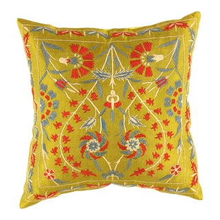 Ts 199 Olive Green Suzani Hand Stitch Pure Silk Turkish Pillow For Sale
