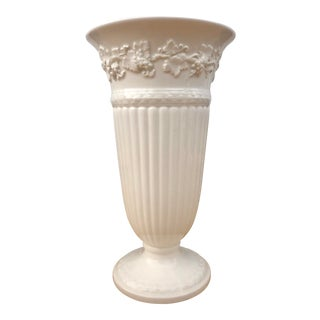 Wedgwood Queensware Ivory Trumpet Vase Embossed With Grapes For Sale