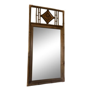 Vintage Faux Bamboo Mirror With Pottery Details For Sale