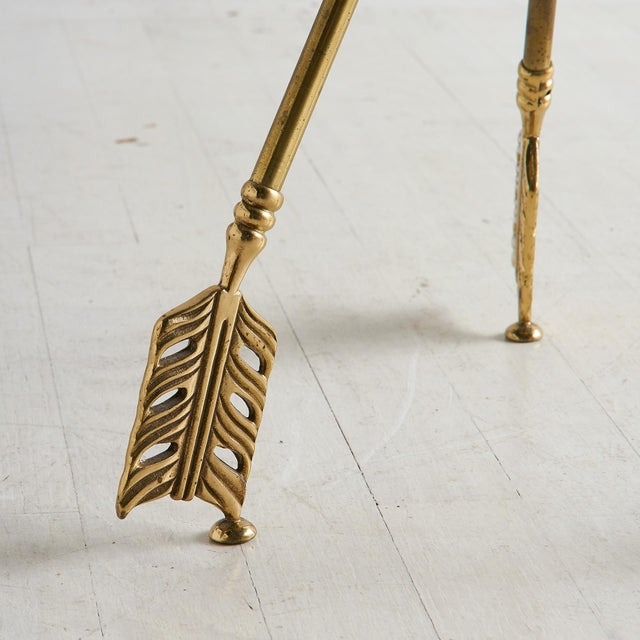 Maison Jansen Brass Tripod Table With Arrow Motif Attributed to Maison Jansen For Sale - Image 4 of 7