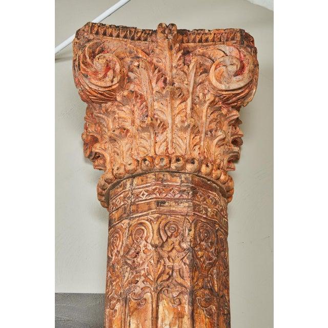 Pair of Orange Tall Indian Teak Wood Pillars - Image 6 of 9