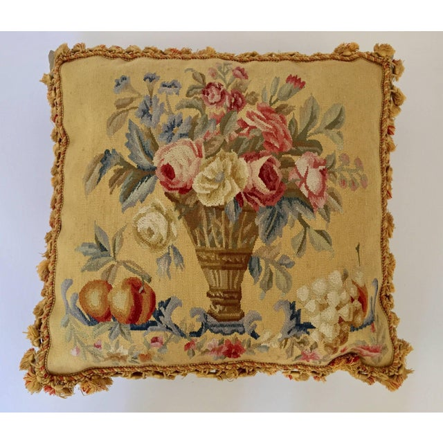 Large decorative French Aubusson style tapestry pillow backed with silk velvet. Beautiful vintage French Provincial pillow...