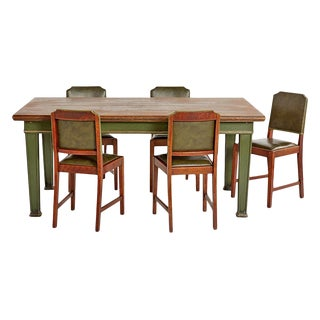 Oak & Steel Carnegie Library Table With 5 Matching Chairs Circa 1890s