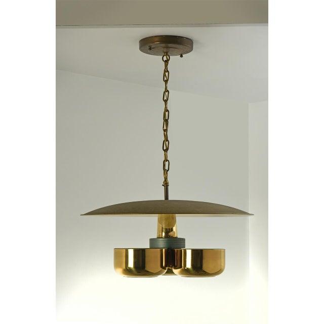 Gerald Thurston Brass Ceiling Pendant Light for Lightolier, Circa 1950's For Sale In Detroit - Image 6 of 6