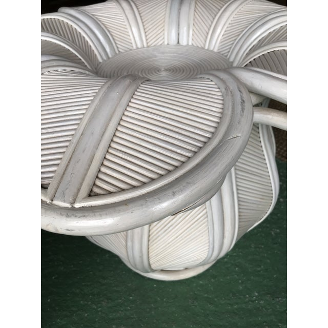 White Tropical Pencil Reed Rattan Bell Flower Side Tables-Pair For Sale - Image 8 of 13