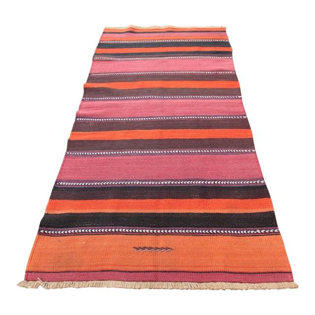 Turkish Floor Orange Stripe Kilim Rug - 4' x 2' 7'' - Image 1 of 11