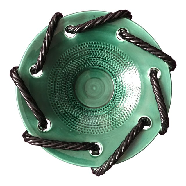 Mid 20th Century Vallauris Green and Black Mid Century Bowl For Sale