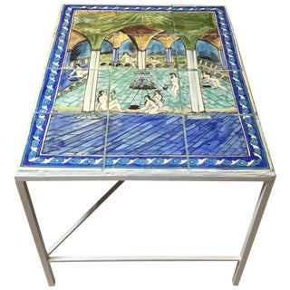 Vintage Persian Tile Top Coffee Table For Sale