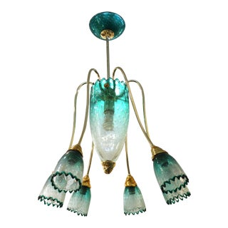 Italian Postmodern Murano Glass Chandelier Attributed to Seguso For Sale