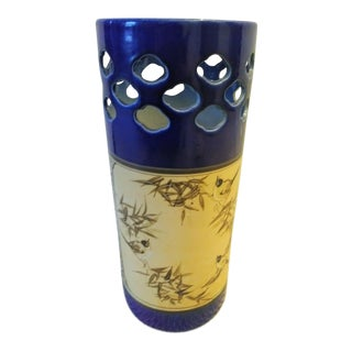 Ceramic Navy Blue Yellow Chinoiserie Palm Beach Regency Bird Umbrella Stand Holder For Sale