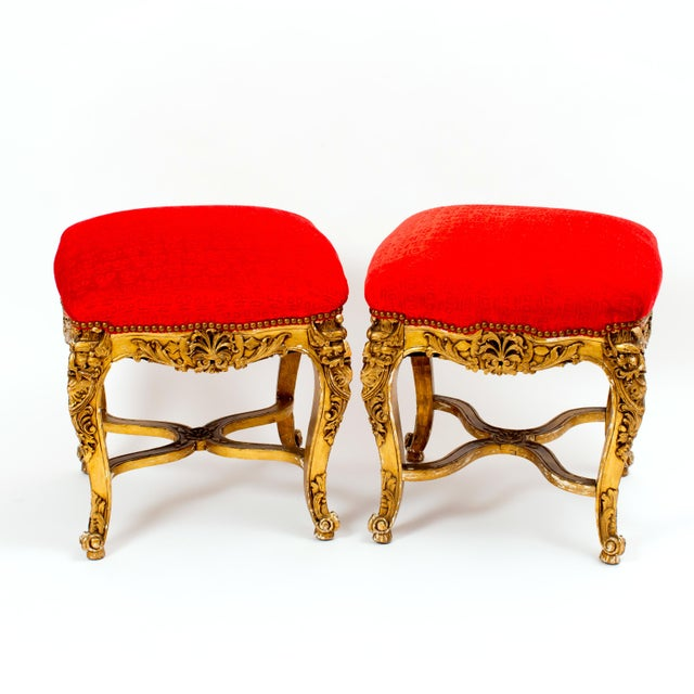 French Vintage Giltwood Tabourets in Hunt Slonem Fabric- a Pair For Sale - Image 3 of 3