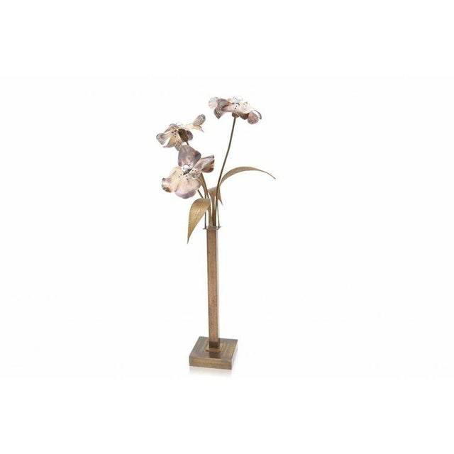 Willy Daro Mother-of-Pearl and Bronze Floral Floor Lamp - Image 6 of - Superb Willy Daro Mother-of-Pearl And Bronze Floral Floor Lamp