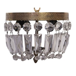 Crystal Basket Flush Mount Fixture from the Waldorf Astoria For Sale
