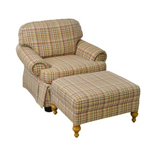 Wesley Hall Plaid Upholstered Club Chair w/ Ottoman