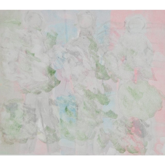 Impressive abstract aquatint figures in a plate marked border. Three pastel colored figures in motion, on heavy wove Rives...