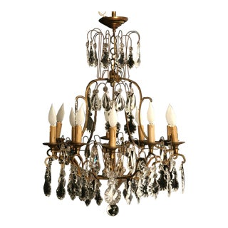 Circa 1930 French Bronze & Hand-Cut Crystal 10 Light Chandelier For Sale
