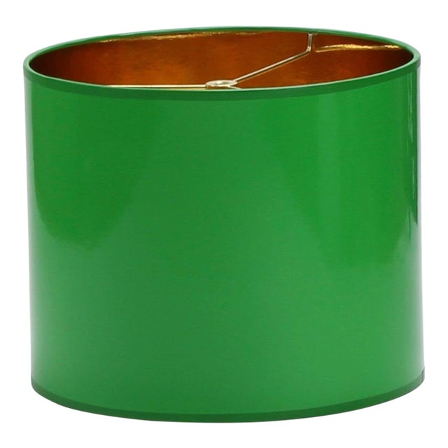 Small High Gloss Green Drum Lamp Shade For Sale