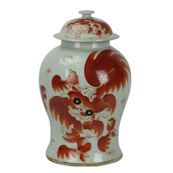 Red Dancing Lion Jar For Sale