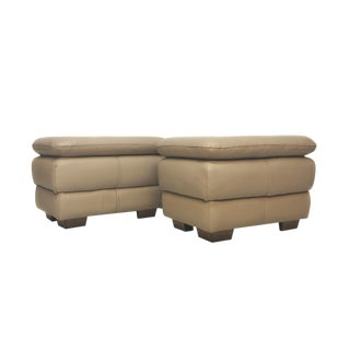 Modern Beige Faux Leather Ottomans - a Pair For Sale