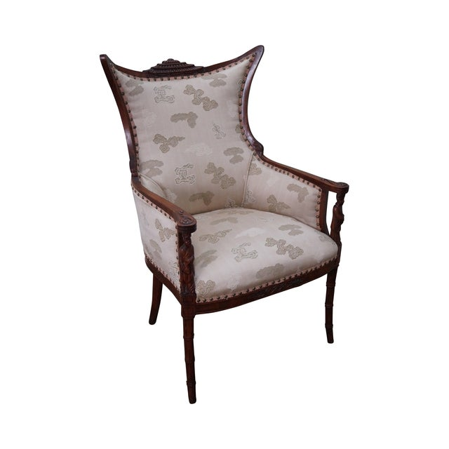 Vintage Chinese Chippendale Style Wing Chair - Image 1 of 10