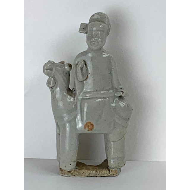 Song Dynasty Chinese Celadon Porcelain Horse and Rider on Later Lucite Pedestal For Sale - Image 11 of 13