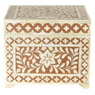 Moroccan Boho Chic Brown Wooden Bone Inlay Jewelry Box