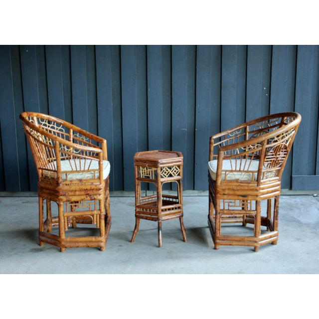 Brighton Pavilion Pair of Brighton Pavillion Bamboo Chairs With Table, Set of 3 For Sale - Image 4 of 13
