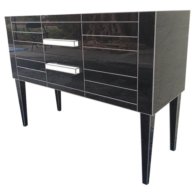 New Chest of Drawers in Black Mirror and Aluminium With White Glass Handle For Sale