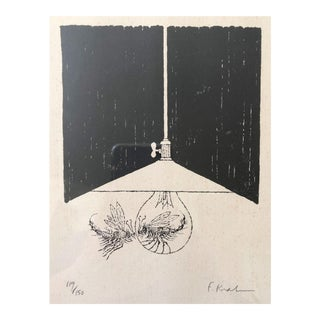 Lightbulb Love Bug Etching, Framed For Sale