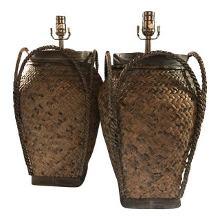 Vintage Basket Weave Rattan Table Lamps - A Pair For Sale