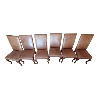Ralph Lauren Leather Dining Chairs - Set of 6 For Sale