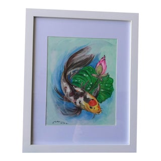 """""""Butterfly Koi and Lotus"""" Contemporary Botanical Watercolor Painting, Framed For Sale"""