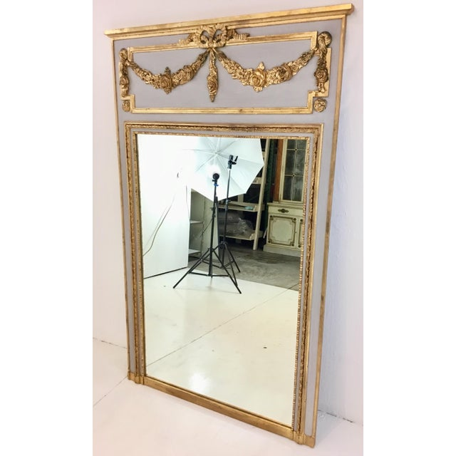 2010s Ave Home Neoclassical Style Gray and Gold Leaf Trumeau Wall Mirror For Sale - Image 5 of 6