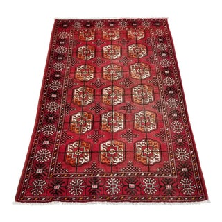 """1950s Vintage Turkaman Persian Rug-3' 8"""" X 6' 3"""" For Sale"""