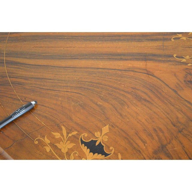 Antique Burl Walnut Victorian Inlaid Oval Parlor Table For Sale - Image 9 of 13