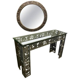 Mixed Metal Console and Mirror For Sale