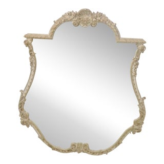 French Style Distressed Cream Shell Motif Painted Mirror For Sale