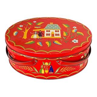 Vintage Dutch Style Tin Basket For Sale